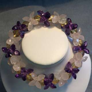 Amethyst/Citrine/Rose Quartz Gems Cut Bracelet