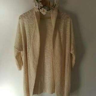 Cotton On Cream Woolen Knit Wrap Cardi Jacket M