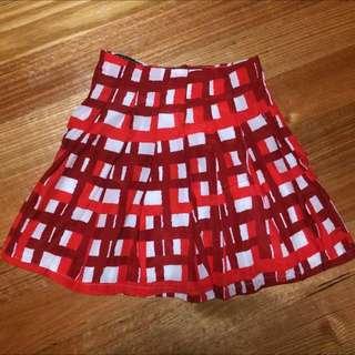 Red & White Check Mini Skater Skirt Sz M BNWOT