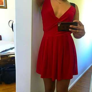 Red Flow Dress With Black Lace