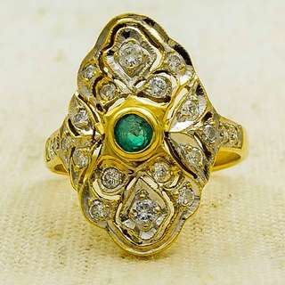 Ladies Two Tone Gold Vintage Emerald & Diamond Accented Cocktail Ring ­­18K Yellow & White Gold