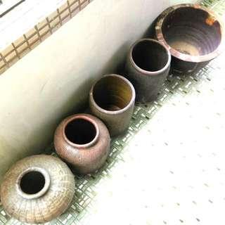 🚚 早期 古樸 花瓶 陶甕