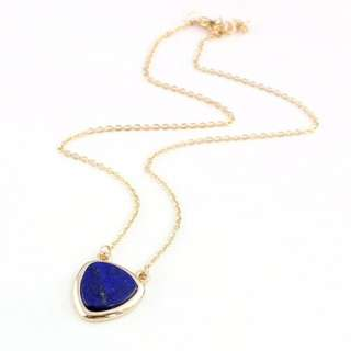 Lapis Lazuli  Genuine GemStone Triangle Necklace--Gold Plated Necklace