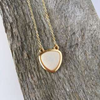 Ivory Quartz Genuine GemStone Triangle Necklace--Gold Plated Necklace