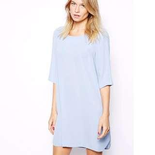 Love - Shift Dress with Dip Hem - Powder blue (XS)