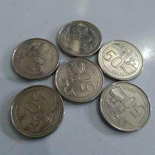 Uang Koin 50 Cent Singapore