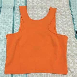 Bardot Orange Crop Top