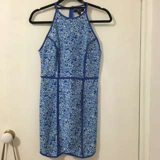 Princess Polly Blue High Neck Dress With Piping