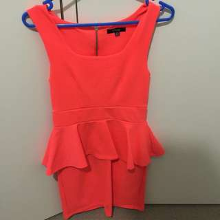Bright Orange Peplum Dress