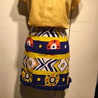 超美藍黃圖騰裙