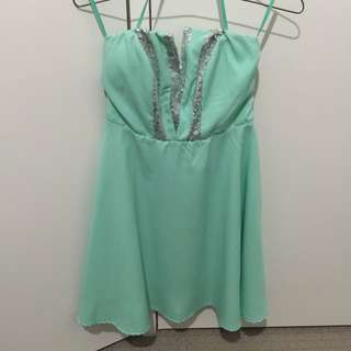 Mint Green And Silver Strapless Dress