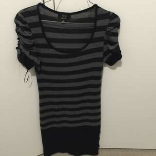 Black And Grey Striped Fitted Dress