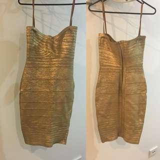 Authentic Bariano Gold Bandage Dress - New With Tags