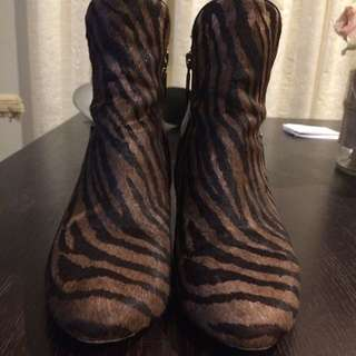 Mimco Pony Hair All Leather Ankle Boots