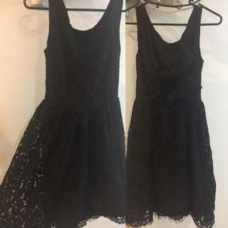 Forever New Black Lace Dress With Bow Detail At The Back