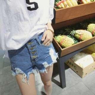 韓國磨破刷破牛仔短褲