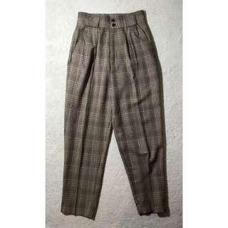 Vintage High Waisted Plaid Pants
