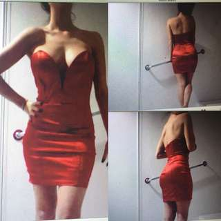 Red Mini Dress With Boned Bodice