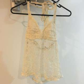 Mooloola Halter Top With Lace Detail