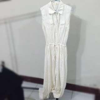 女神風白色襯衫長洋裝