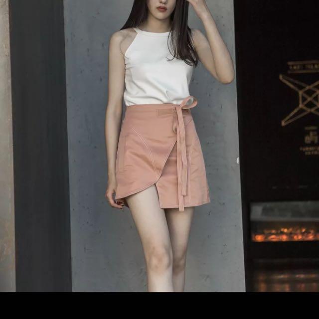 顯瘦不對稱繫帶A字裙短裙 S號全新 不小心買到兩件