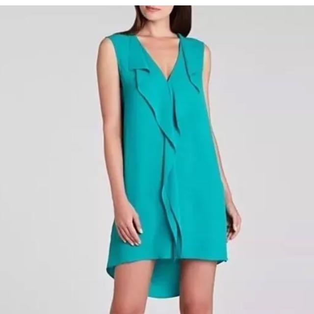 BCBG Max Azria Designer Turquoise Shift Dress With Low Back Sz XXS BNwoT