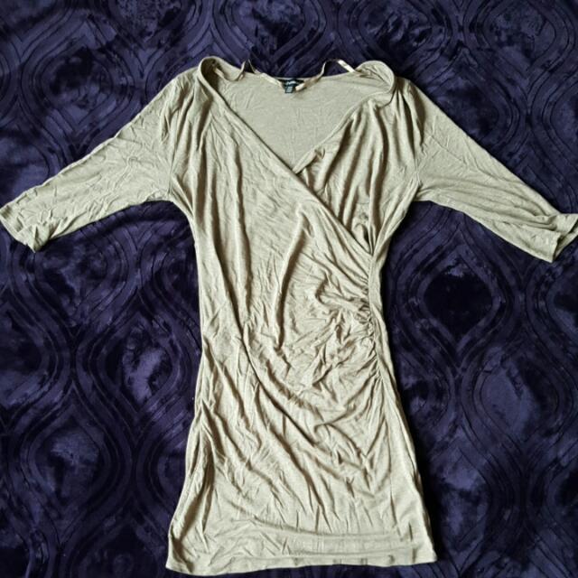 Beige Low Dip Dress