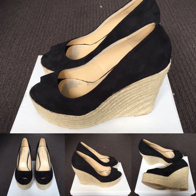 Black Rope Wedge Heels