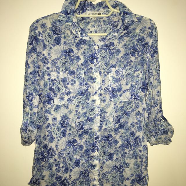 Blue collared blouse