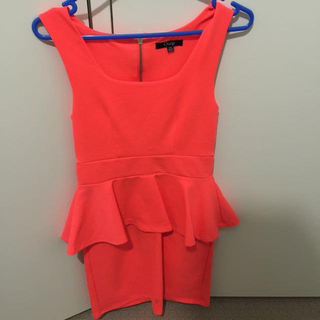 Bright Orange Peplum Dress