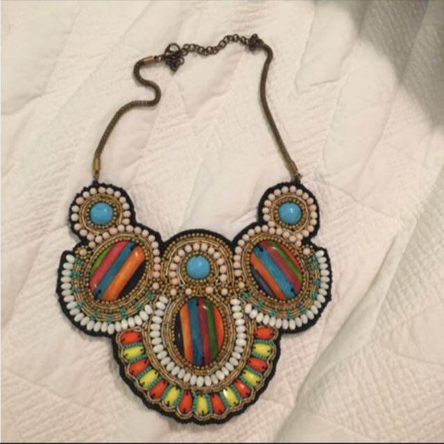 Colourful Beaded Statement Necklace