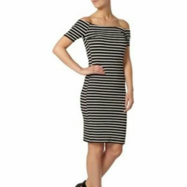 Dorothy Perkins Petite Bardot Tube Dress.  Size: UK 10/US 6/White/Black.  Price: $40.00