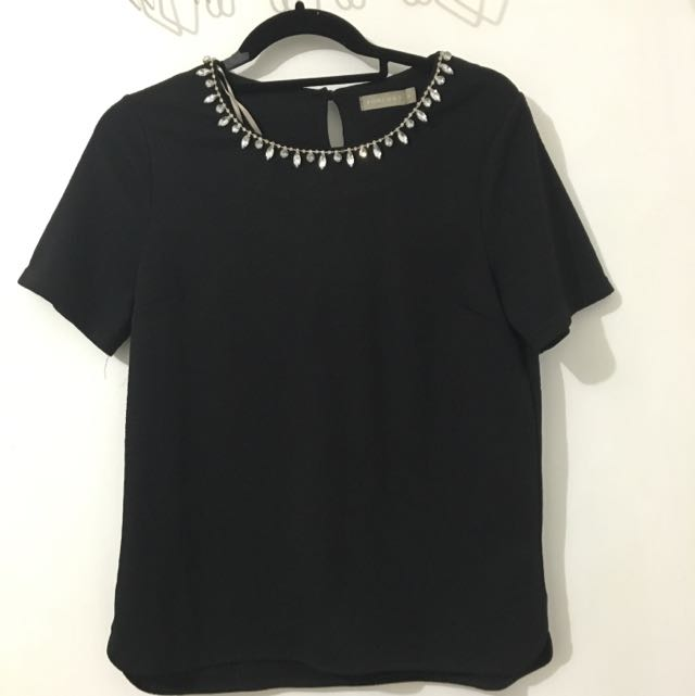 Forecast Black Top With Beading