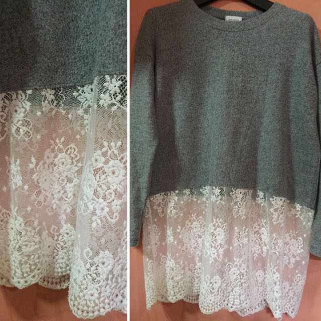 Gray Pullover With Lace