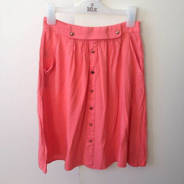 High Waisted Coral Skirt