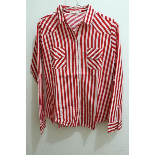 REPRICE Kemeja Stripes Red N White