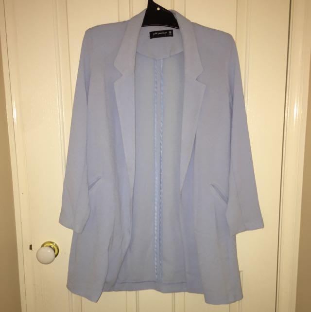 Light Blue Long Coat - Size 10