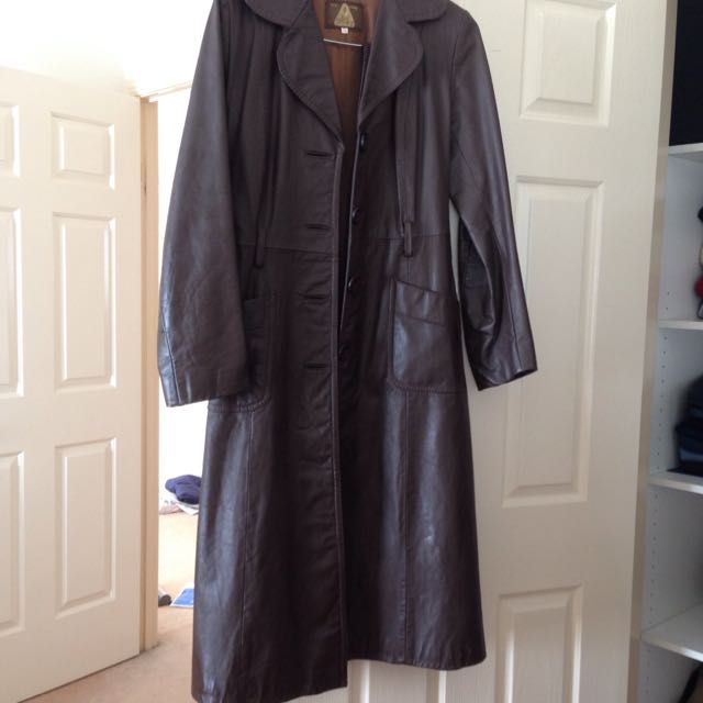 Long brown nappa leather coat