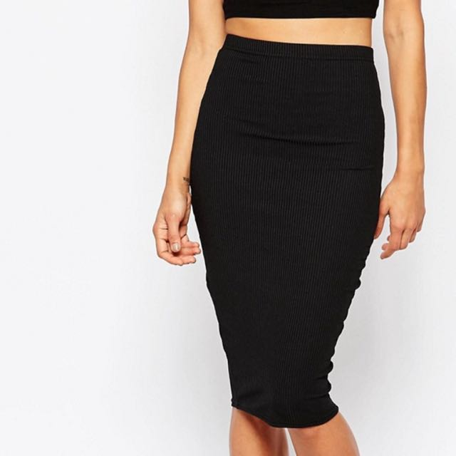 Missguided Fitted Ribbed Skirt