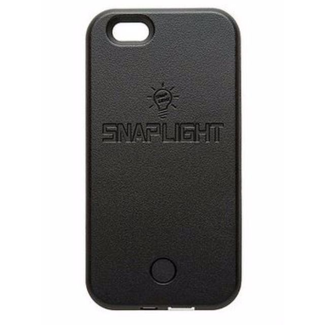 Snaplight LED selfie case for iPhone 6/6s PLUS with powerbank back up charging function in Black