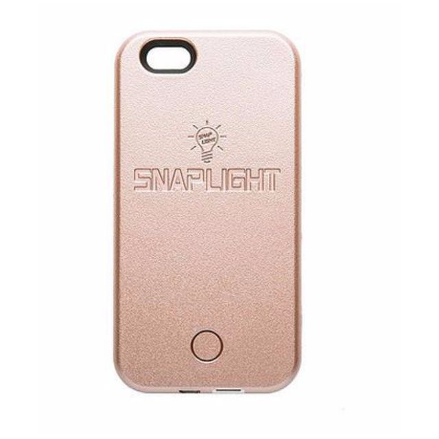 Snaplight LED selfie case for iPhone 6/6s with powerbank back up charging function in Rose Gold