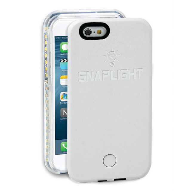 Snaplight LED selfie case for iPhone 6/6s with powerbank back up charging function in White