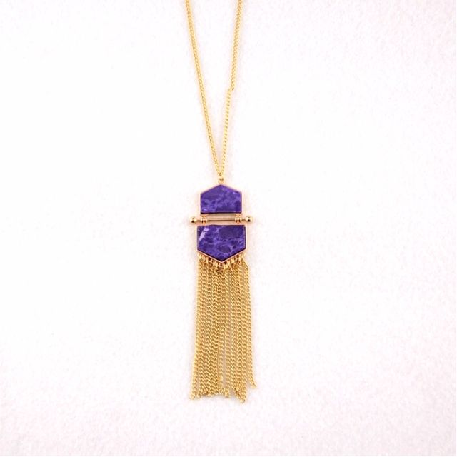 Tassels Gems Geometric Triangle Duo Pendant Necklace in Gold Tone