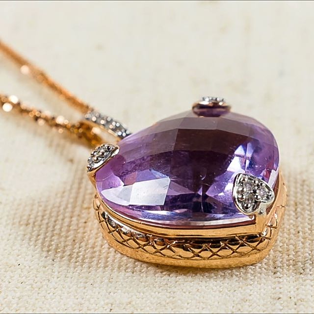 Vintage 14k / 14ct Necklace And Natural Amethyst Pendant