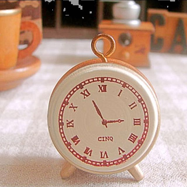 Vintage retro style alarm clock small wooden stamp/DIY seal
