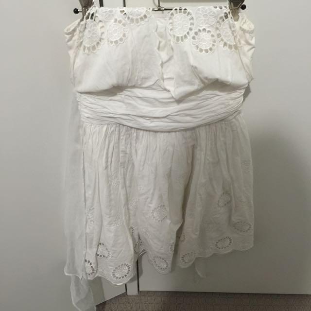 White Floral Halter Neck Dress