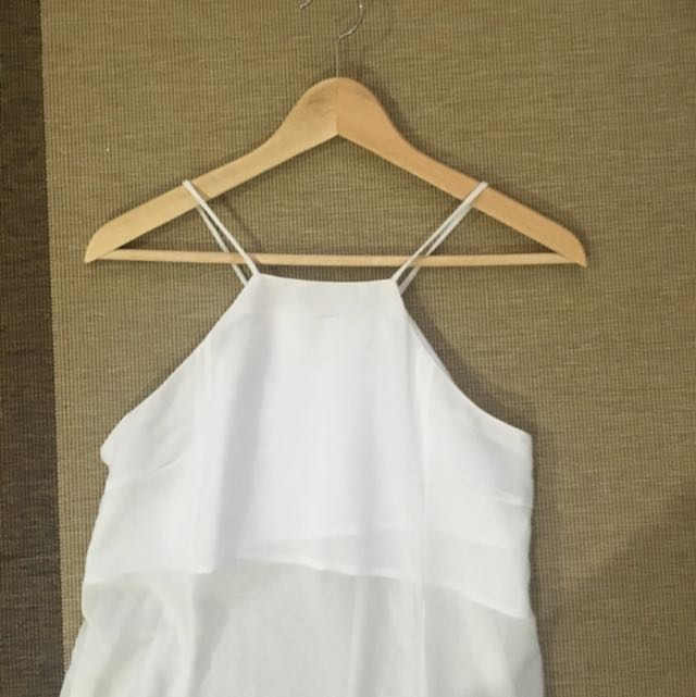 WHITE HALTER NECK TOP