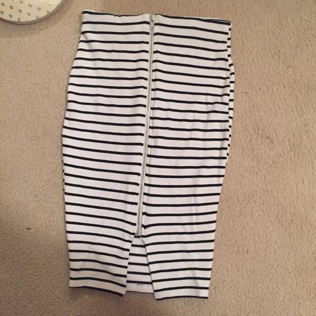 White Stripped Skirt