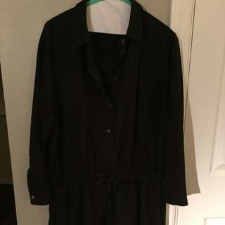 Black Linen/cotton Blend Classic Shirtdress From J Crew