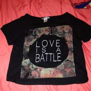 Love Is a Battle Crop Top Size Medium